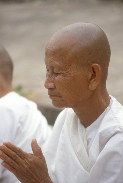 Laos Buddhist Nuns praying.