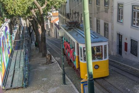Lisbon steep stairs and Tram car