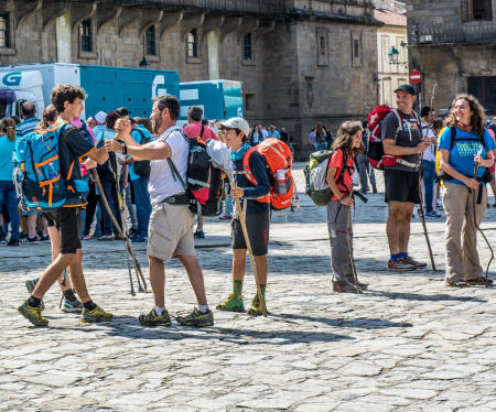 Pilgrims arriving from the Camino