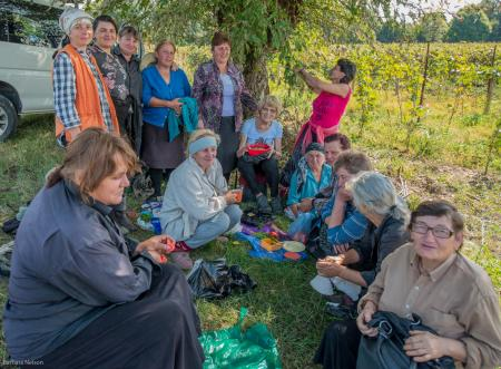 Lunch time. Harvesters of grapes, Kakheti region